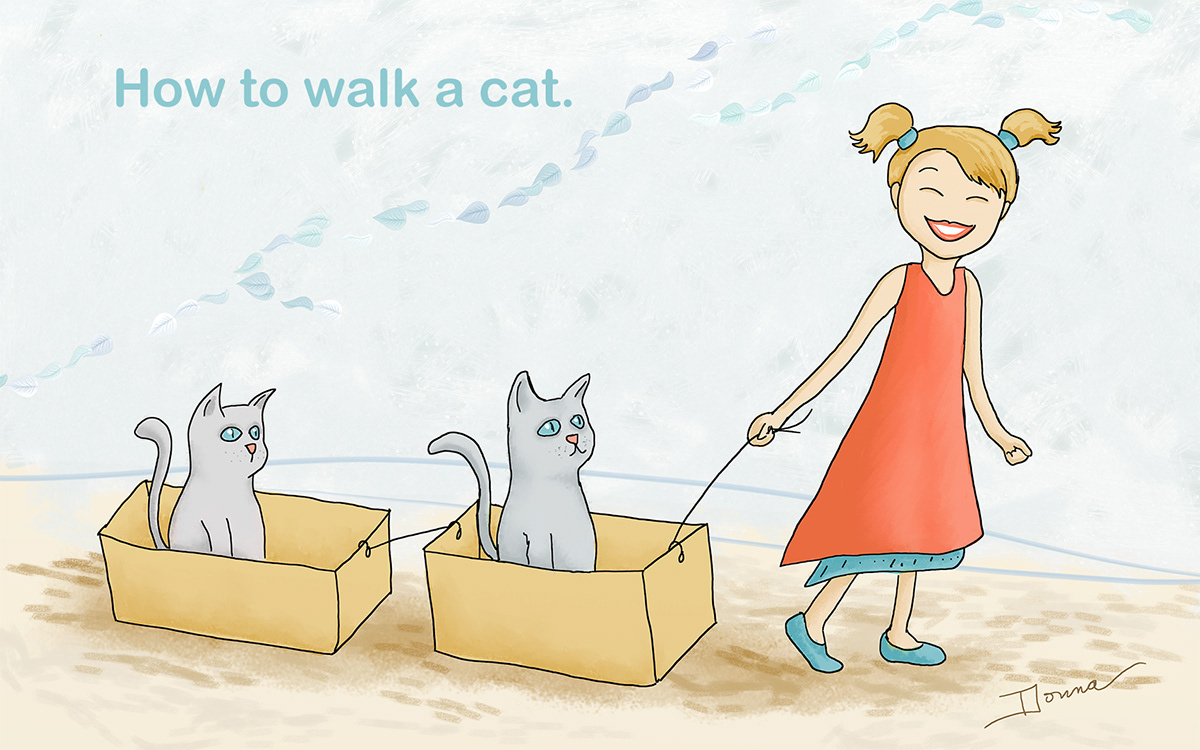 How to Walk a Cat, Girl walking cats in boxes illustration 2