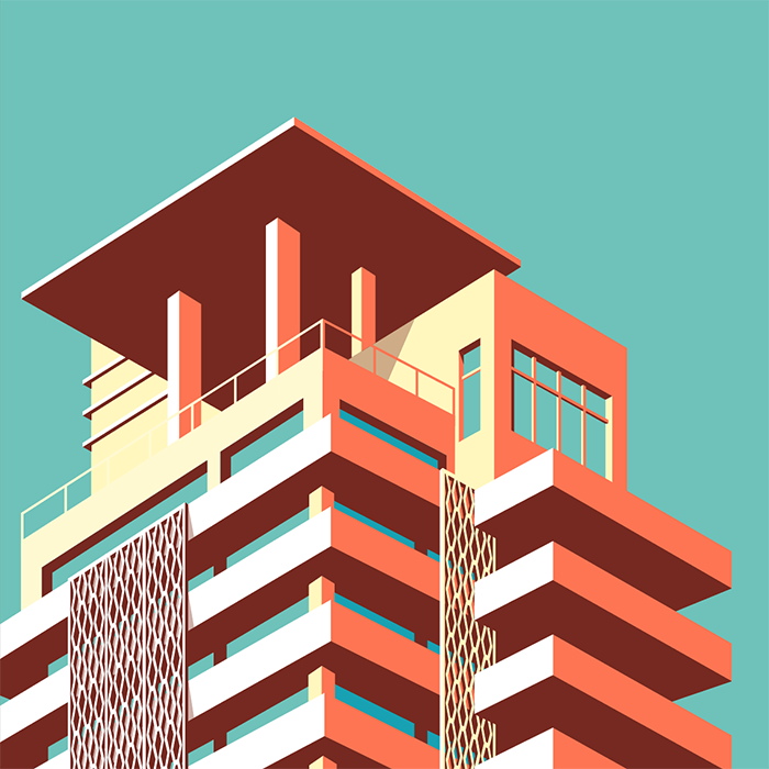 illustration: stylish buildings of miami