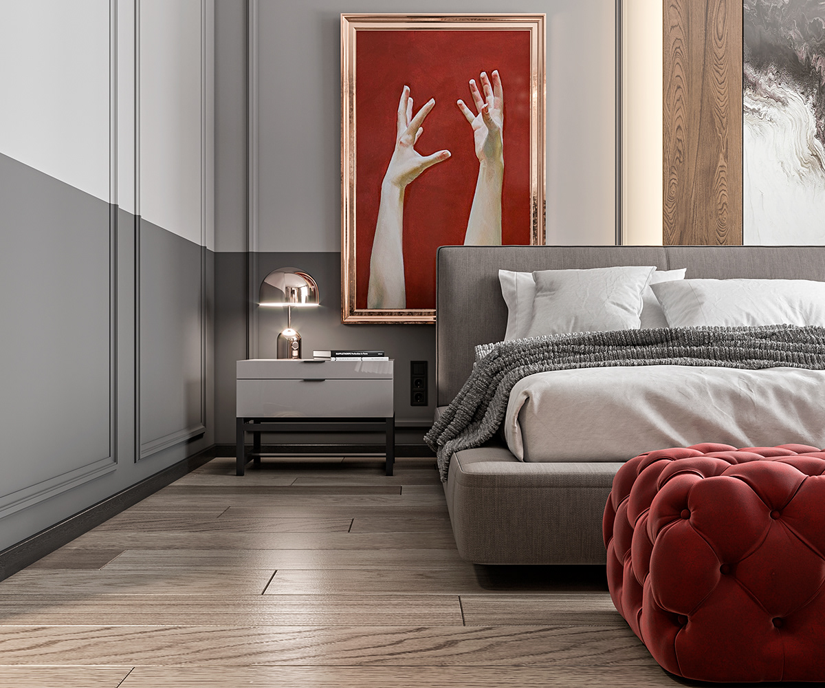 Bedroom In Contemporary Style On Behance: CONTEMPORARY STYLE BEDROOM On Behance
