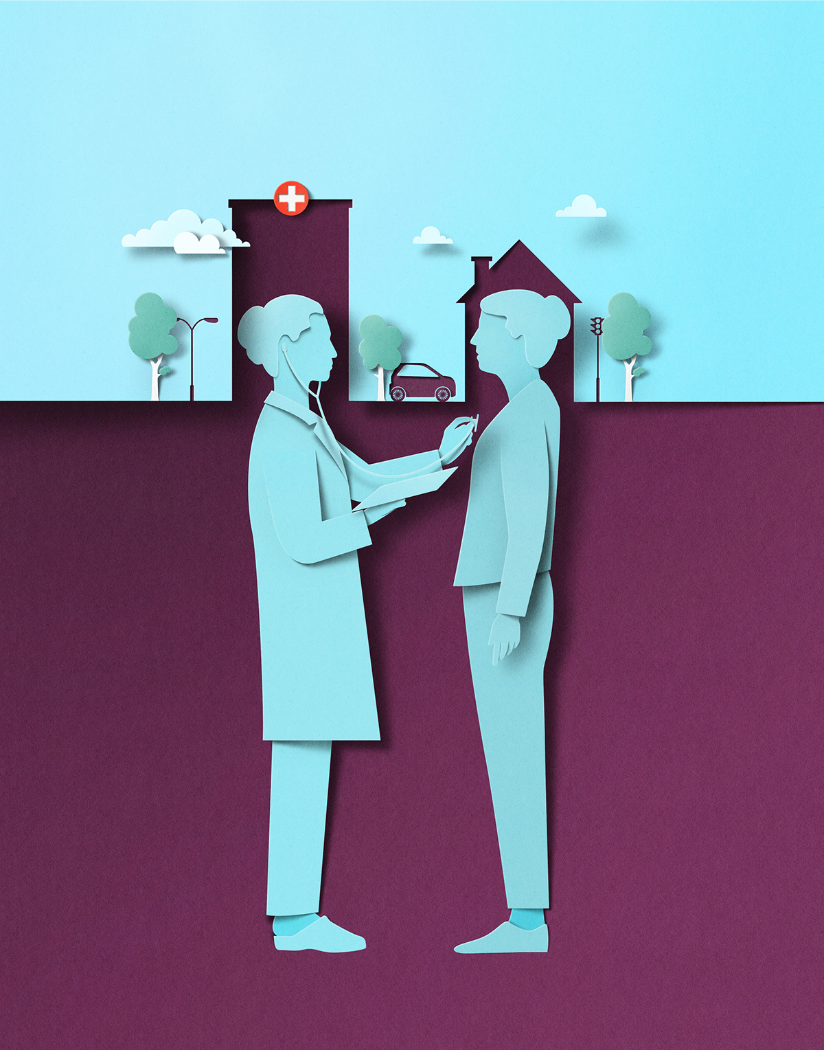 COVid editorial ILLUSTRATION  New York Times new yorker paper cut