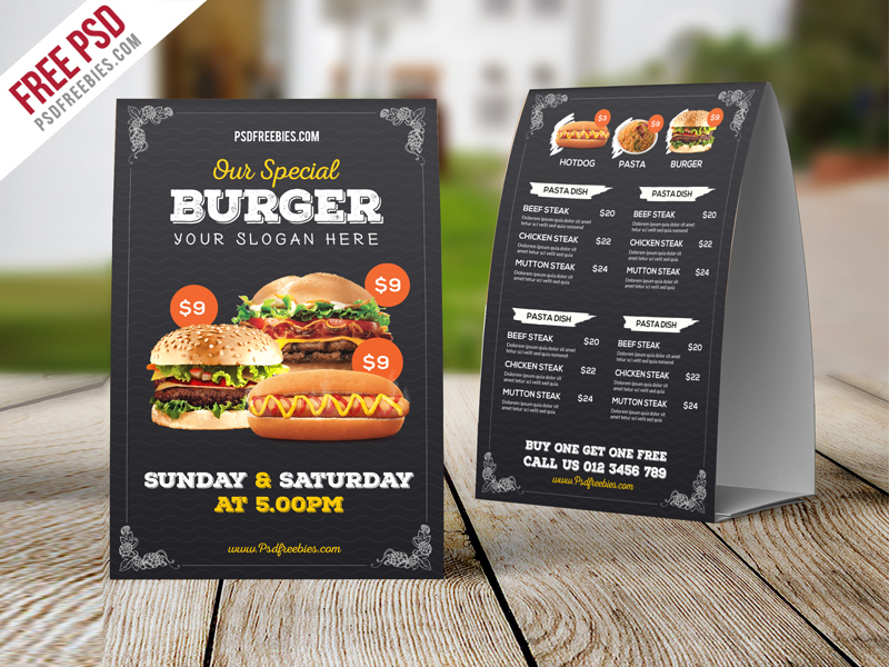 freebie fast food menu table tent template psd on behance