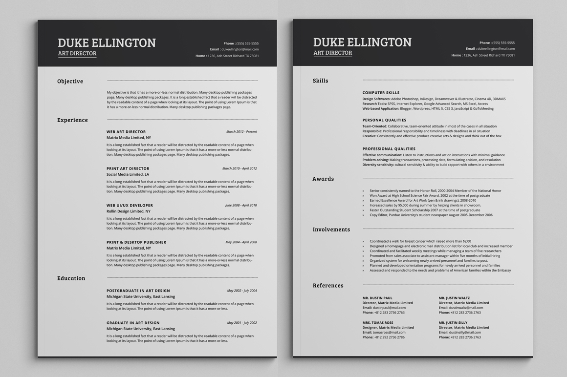 two pages classic resume cv template on behance
