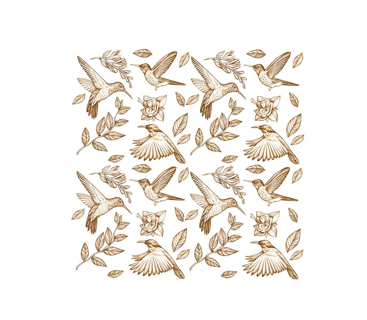 birds Flowers pattern pastel