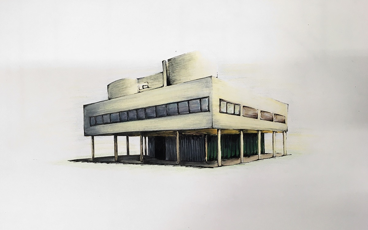 Villa Elevation Plan : Villa savoye on scad portfolios