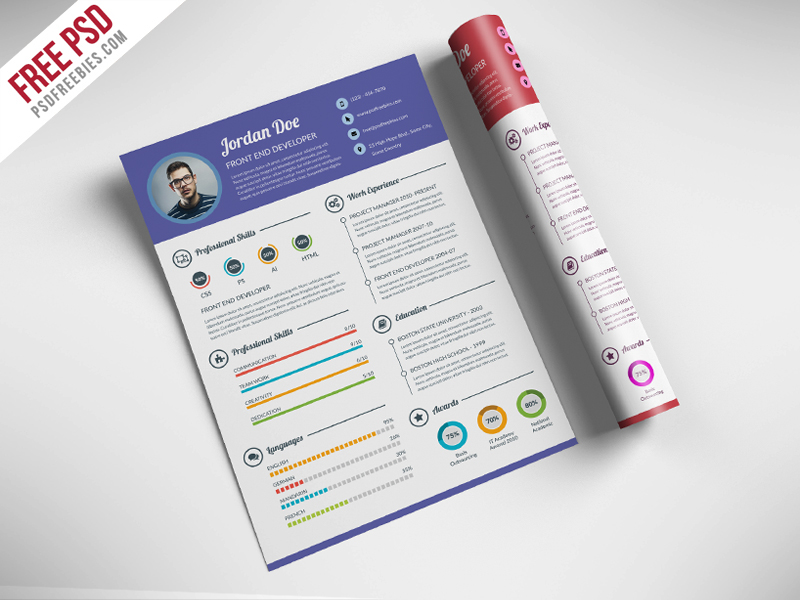 Freebie : Professional Resume CV Template Free PSD on Behance