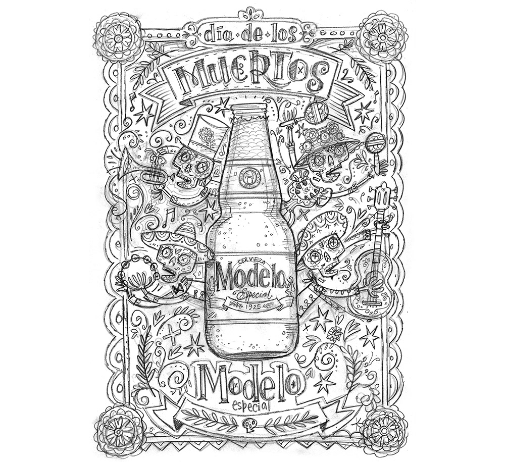 dia de los muertos day of the dead Mexican skulls illustrated skeletons HAND LETTERING mariachi
