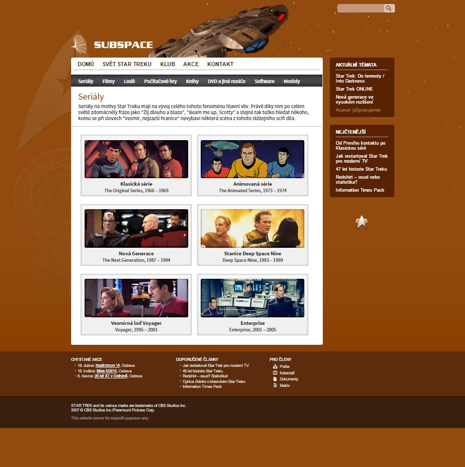 Star Trek fanclub website on Behance