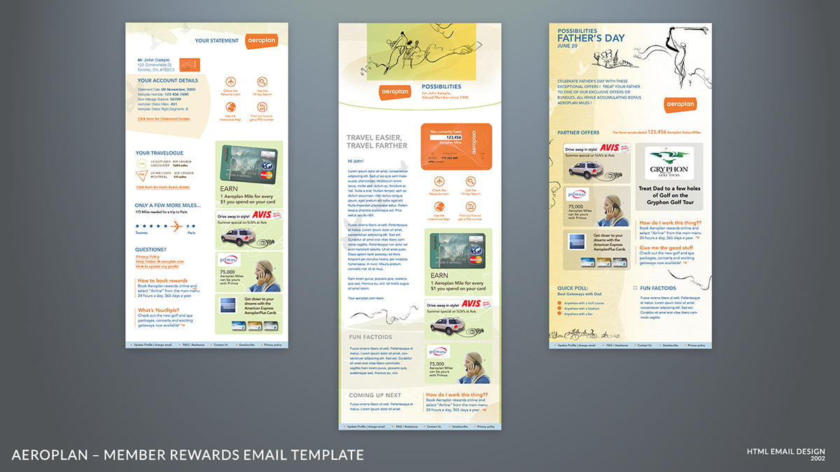 Aeroplan Email Templates On Behance