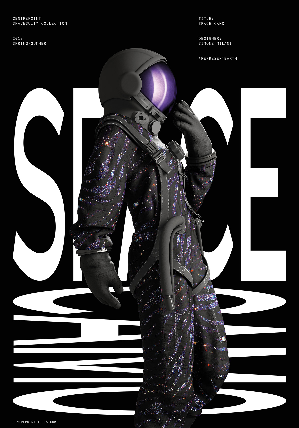 posters spacesuit Fashion  Collection typography   CGI magazine graphic design  3D motion