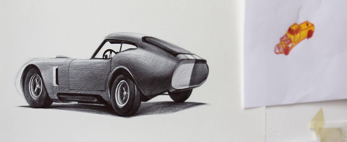 cardesign ferrary animal sketches yelena yefimova ballpoint pen carsketches Classic Cars Cars