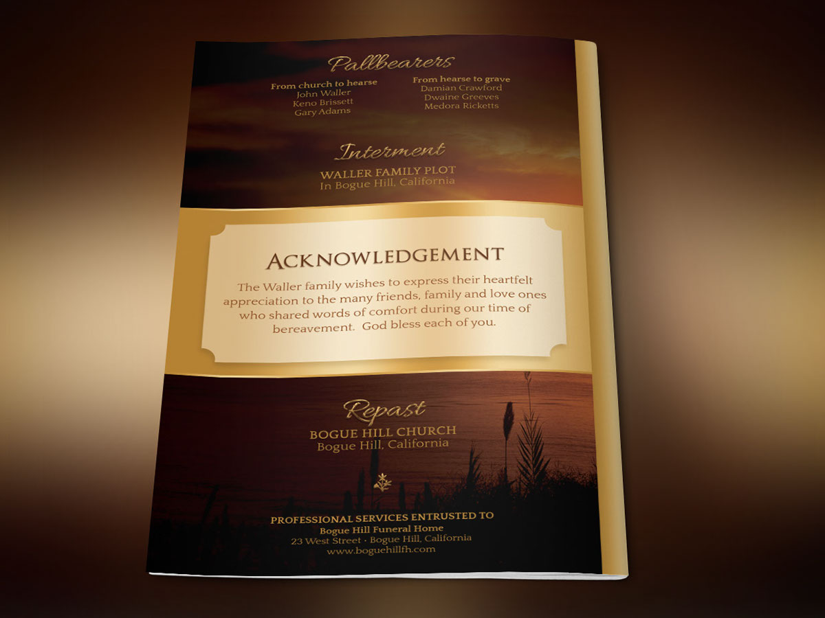 Solid Gold Funeral Program Template on Behance – Funeral Program Background
