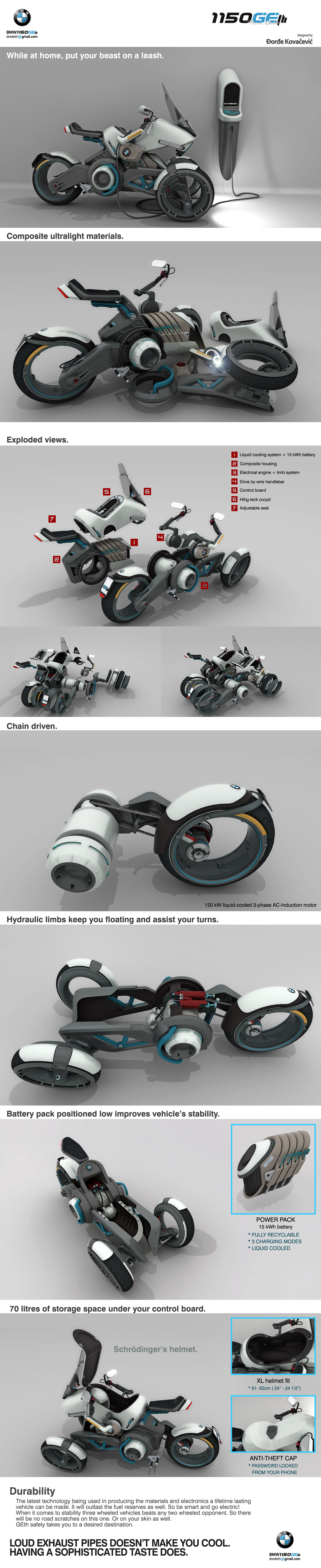 Bmw 1150geth Electric Motorcycle On Behance Engine Exploded View