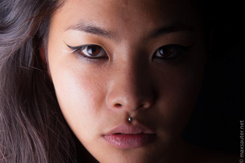studio nude portrait asian face girl woman sepia