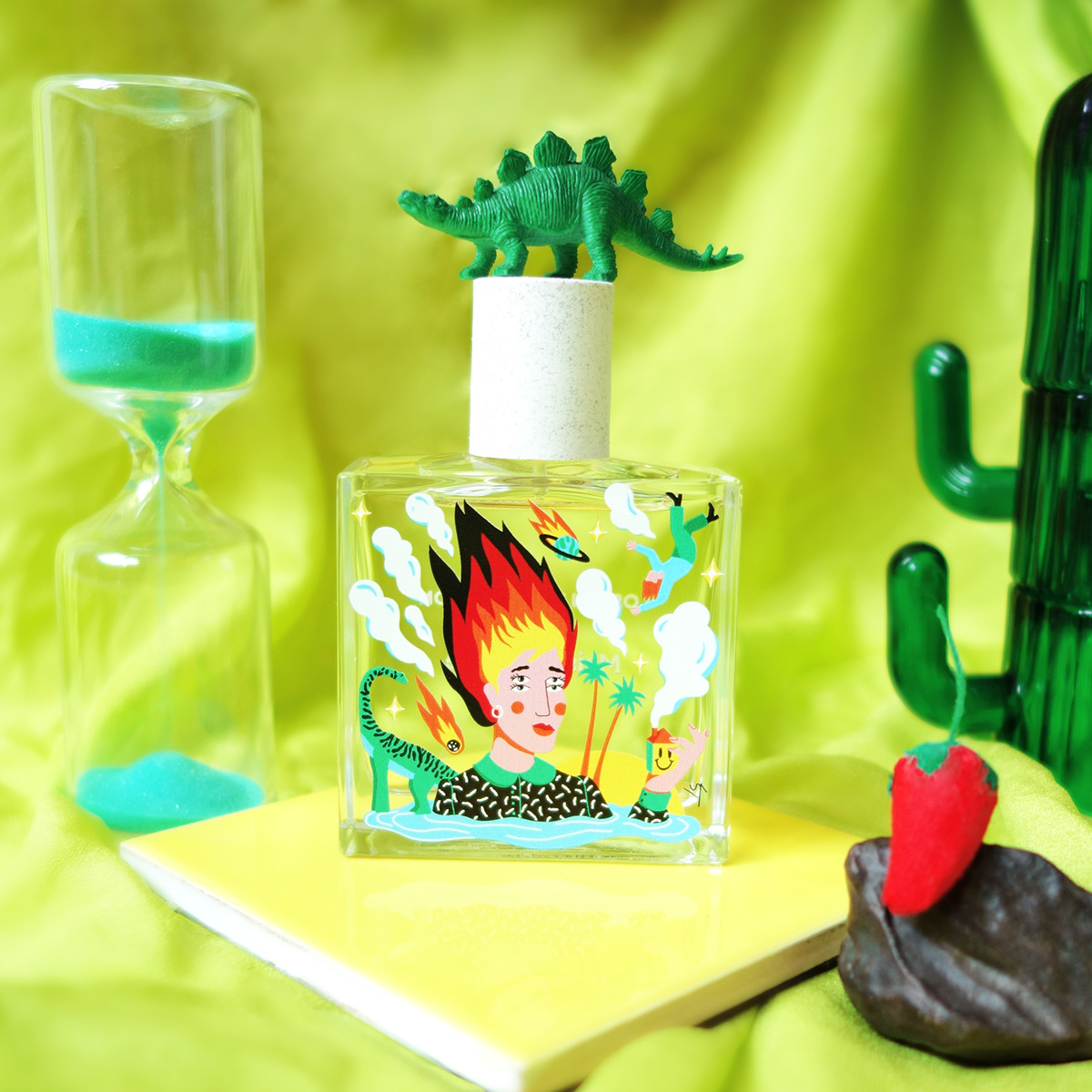 Collaboration design dinosaure fire ILLUSTRATION  perfume product