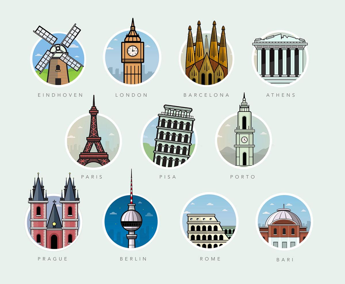 famous landmarks on behance