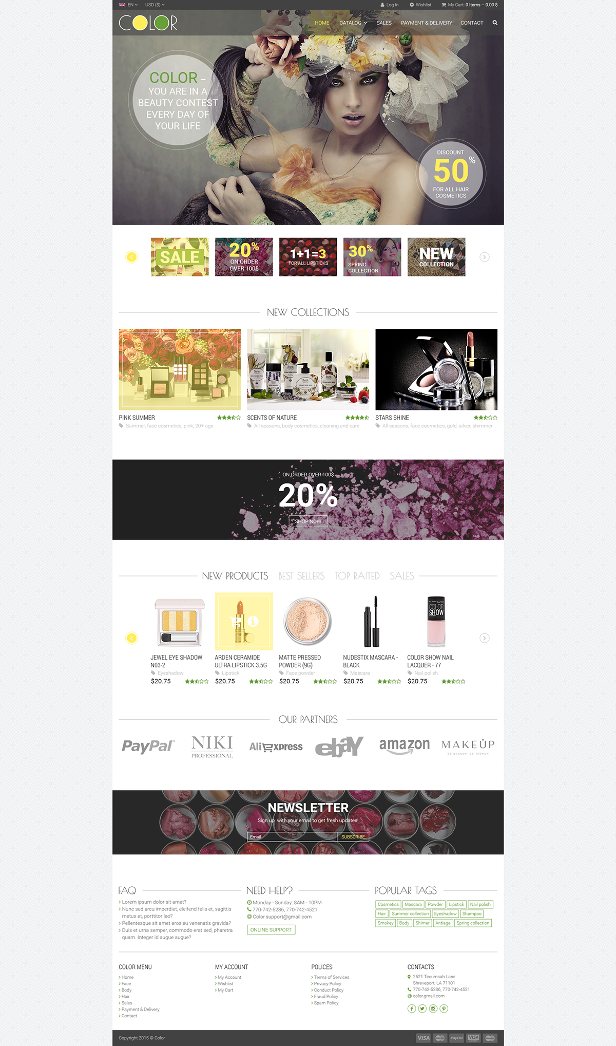 online store Online shop homepage design cosmetics Webdesign