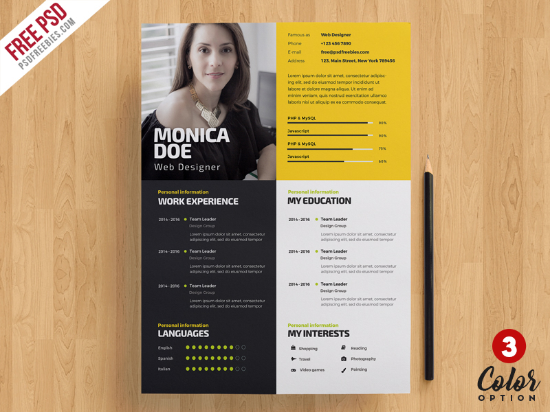 Creative Resume Template PSD Bundle on Behance