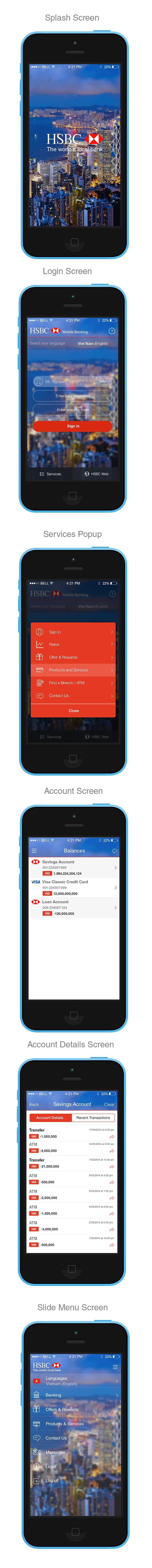 Try re-design for HSBC Mobile Banking App on Behance