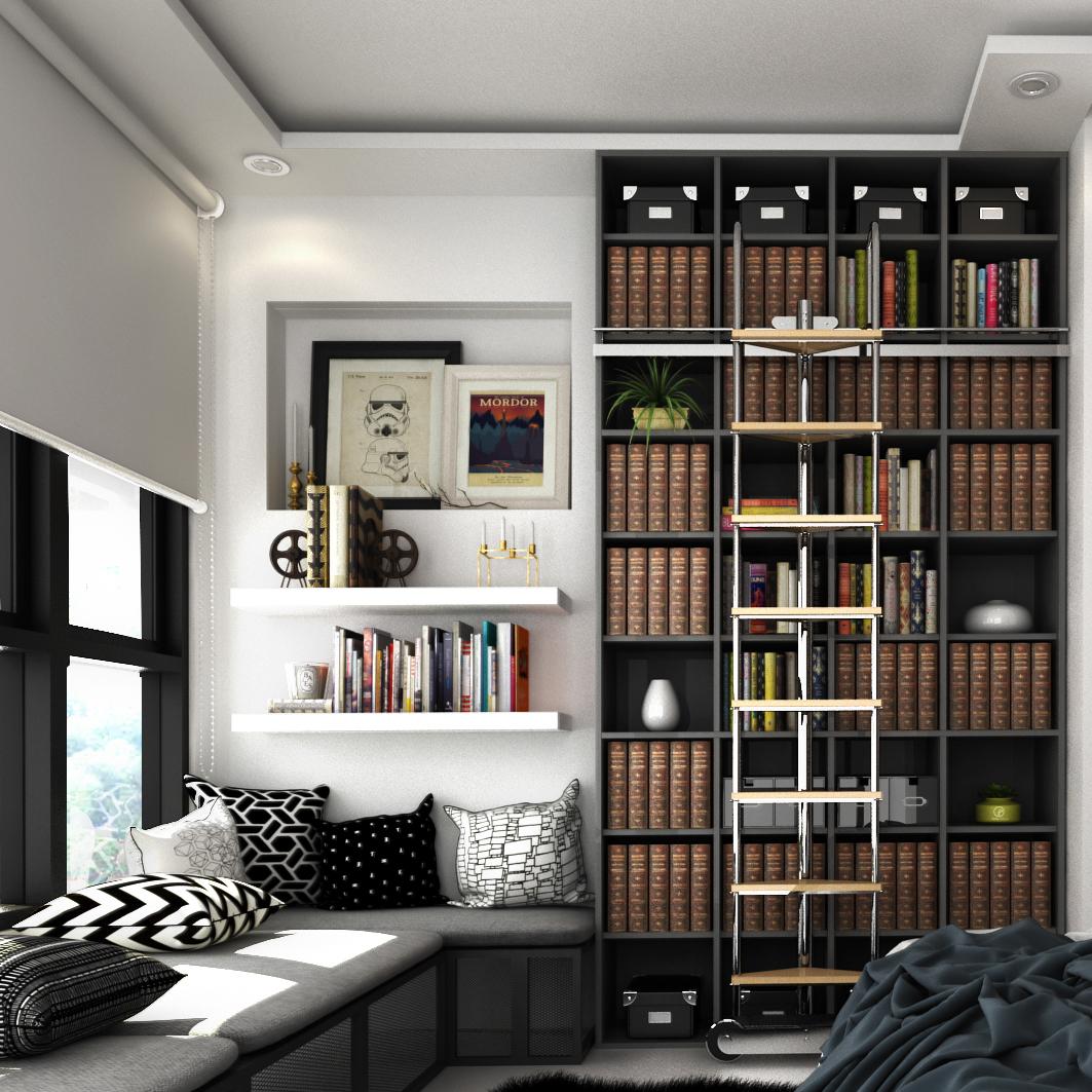 minimal Neutral mini library nordic B8 Bedroom interior #Ps25Under25
