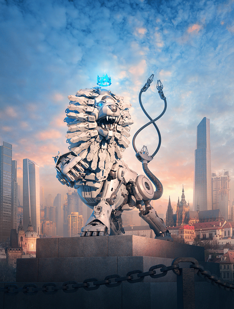 Image may contain: statue, skyscraper and sky
