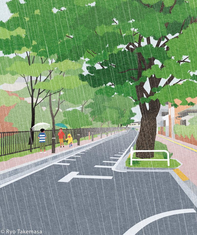 children japan Landscape rain Street summer tokyo