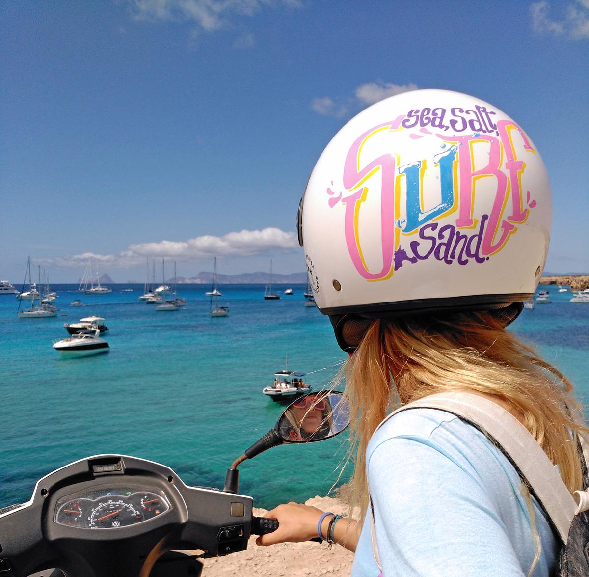 lettering formentera ibiza valencia Helmet casco typo Surf sand Salt BLONDIE moto motorbike sea Posca