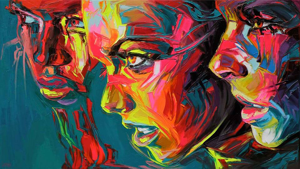 Street Art  Pop Art fluo art Paintings corentin corentin rieke portraits fluo portraits oil on canvas faces
