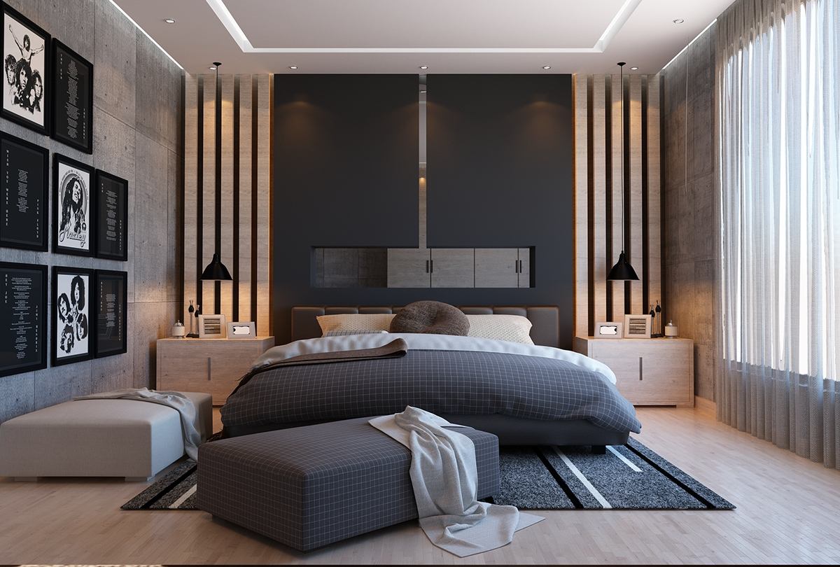 black bedroom on Behance
