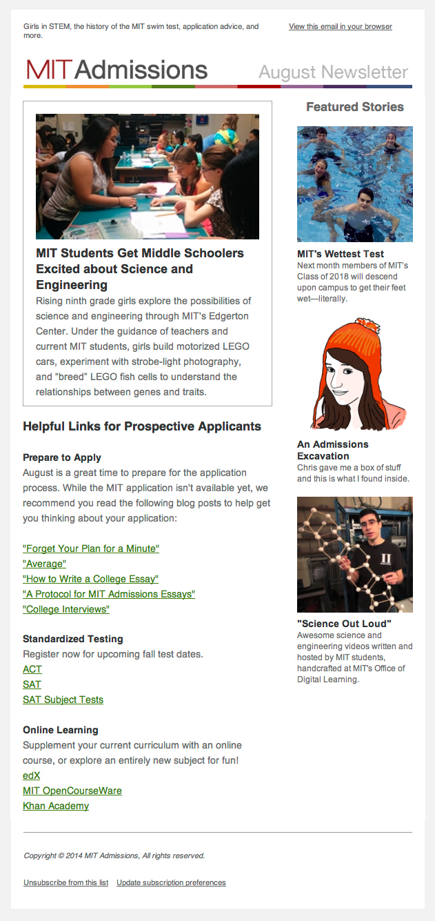 design portfolio mit on  mit admissions newsletter