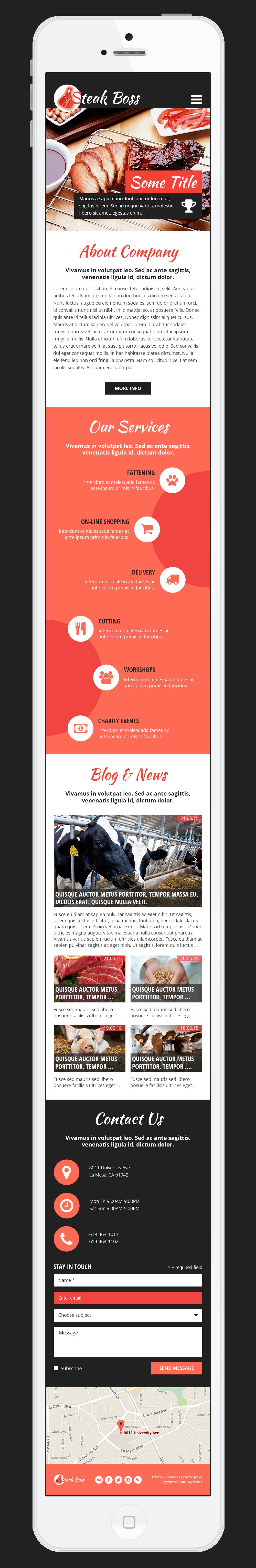 design homepage landing page steak boss mobile design