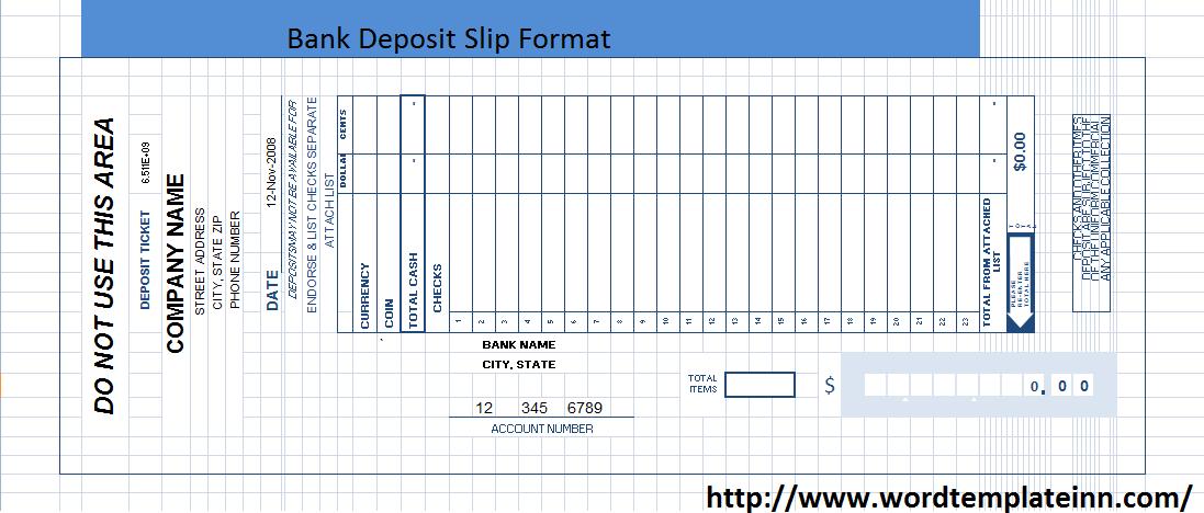 bank deposit slip form word format on behance
