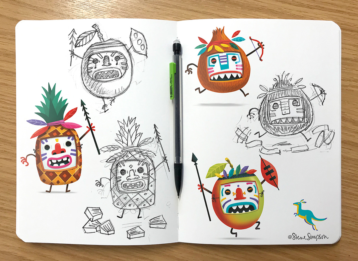 packaging design Design for Print characters HAND LETTERING snacks For Kids Fruit warriors Fun Food