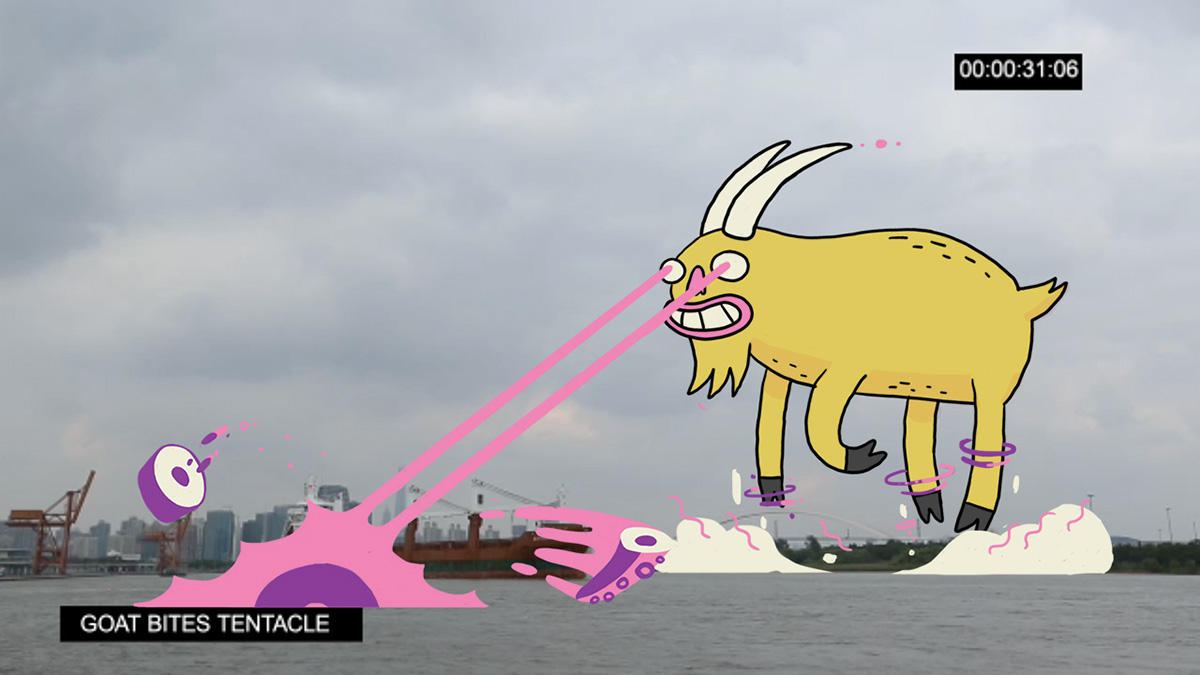goat china new year characters city invasion buildings crazy yellow skyline shanghai Cel Animation traditional animation sheep