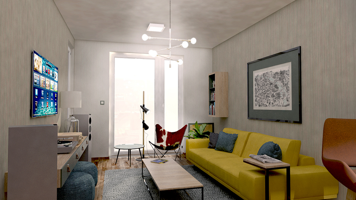 Apartment in buda on pantone canvas gallery for 55m2 apartment design
