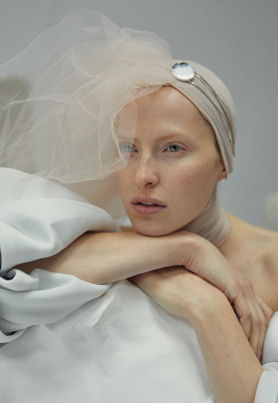 editorial Fashion  feathers redhead romantic vogue