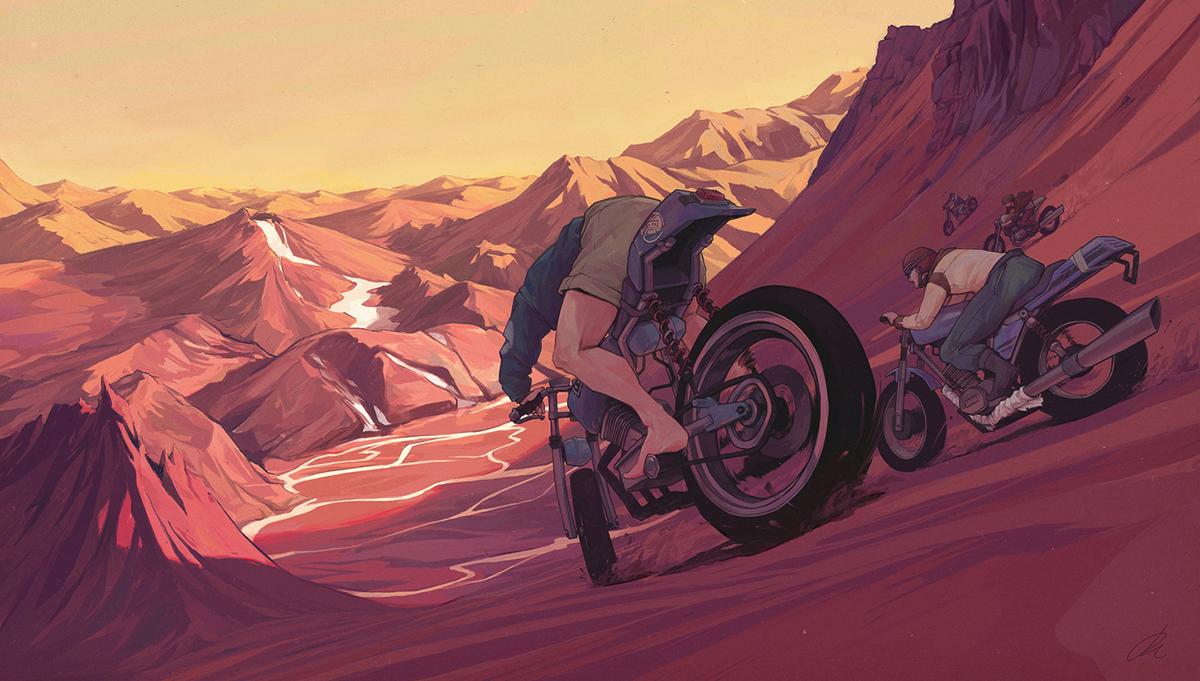 motorcycle,Bike,Landscape,sunset