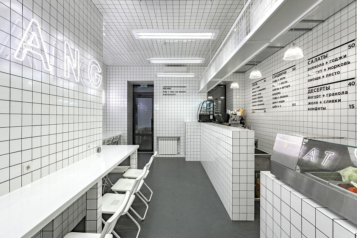Interior design White tile grid bar vegeterian Kyiv ukraine akzarchitectura green Nature