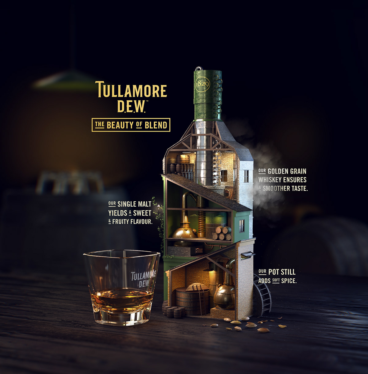 Tullamore D E W  — Triple Blend — 3D Key Visual on Pantone Canvas