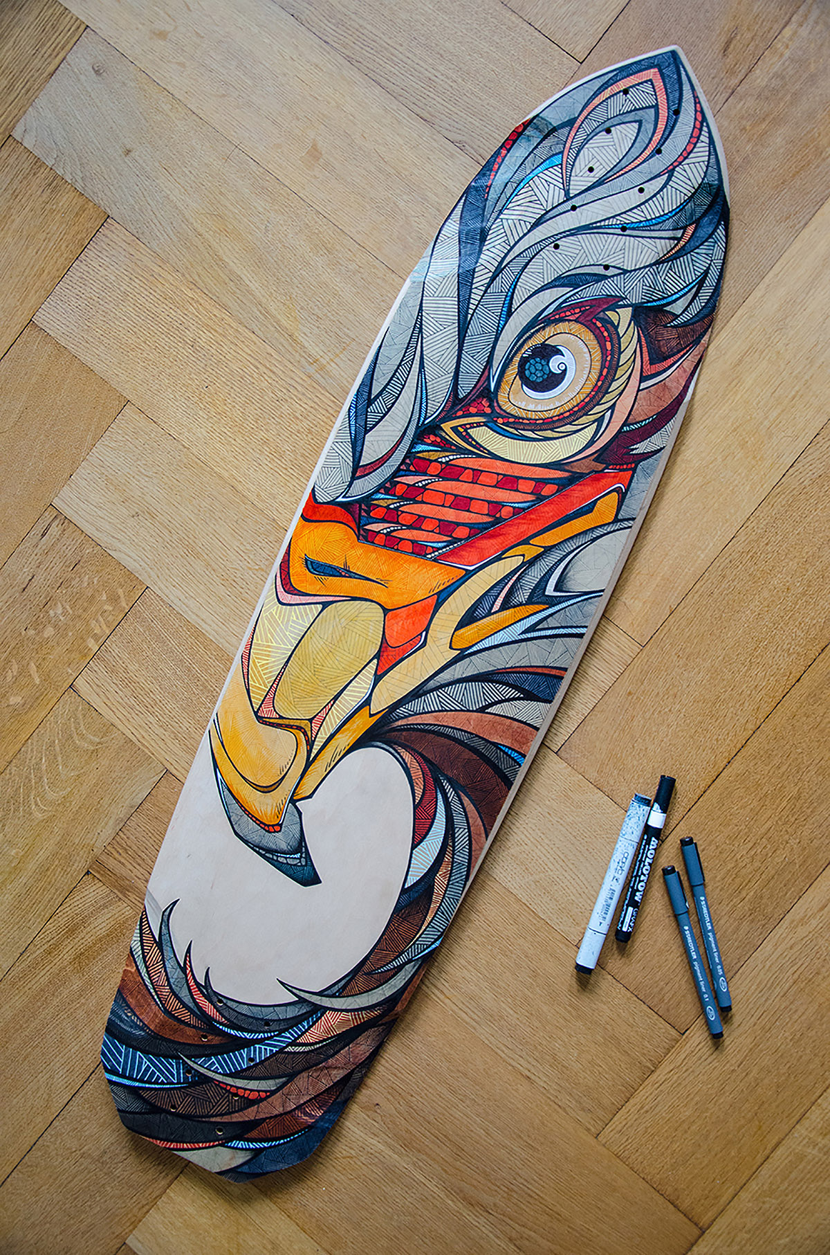 Red eagle painted longboard on behance for Best paint for skateboard decks