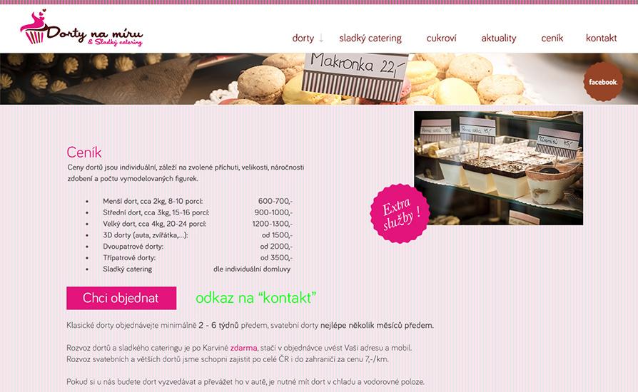 Website Webdesign cake dorty