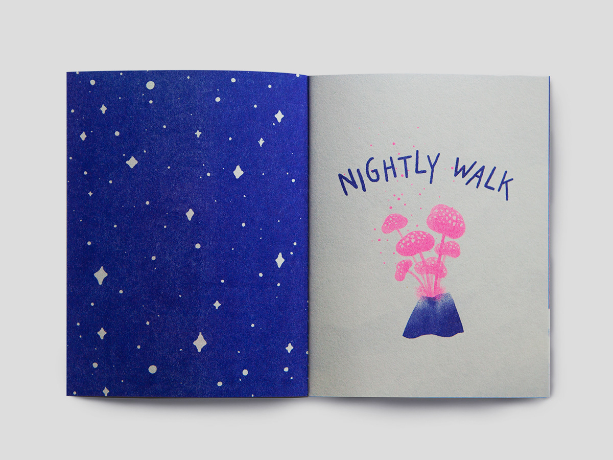 Zine  risograph ILLUSTRATION  nightlywalk