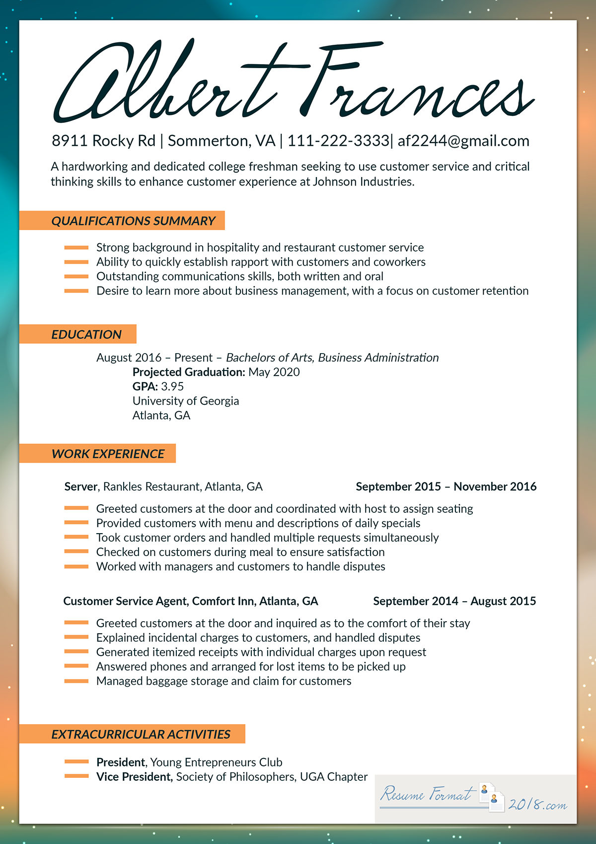 Resume 2018 Format.Best Resume Format 2018 For Fresher On Pantone Canvas Gallery