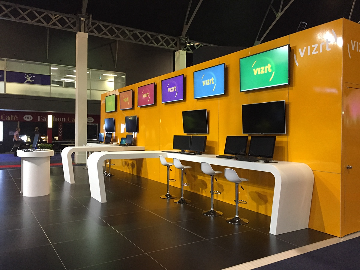 Vizrt Trade show Booth Design / SMPTE on Behance