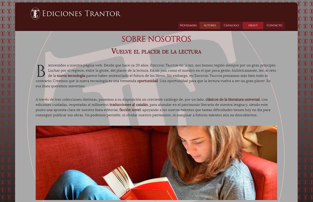 Página web de Editorial Trantor