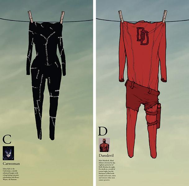SuperHero alphabet Aquaman batman catwoman Daredevil elongated man Flash Green Lantern he-man jesus superman punisher robin wonder woman