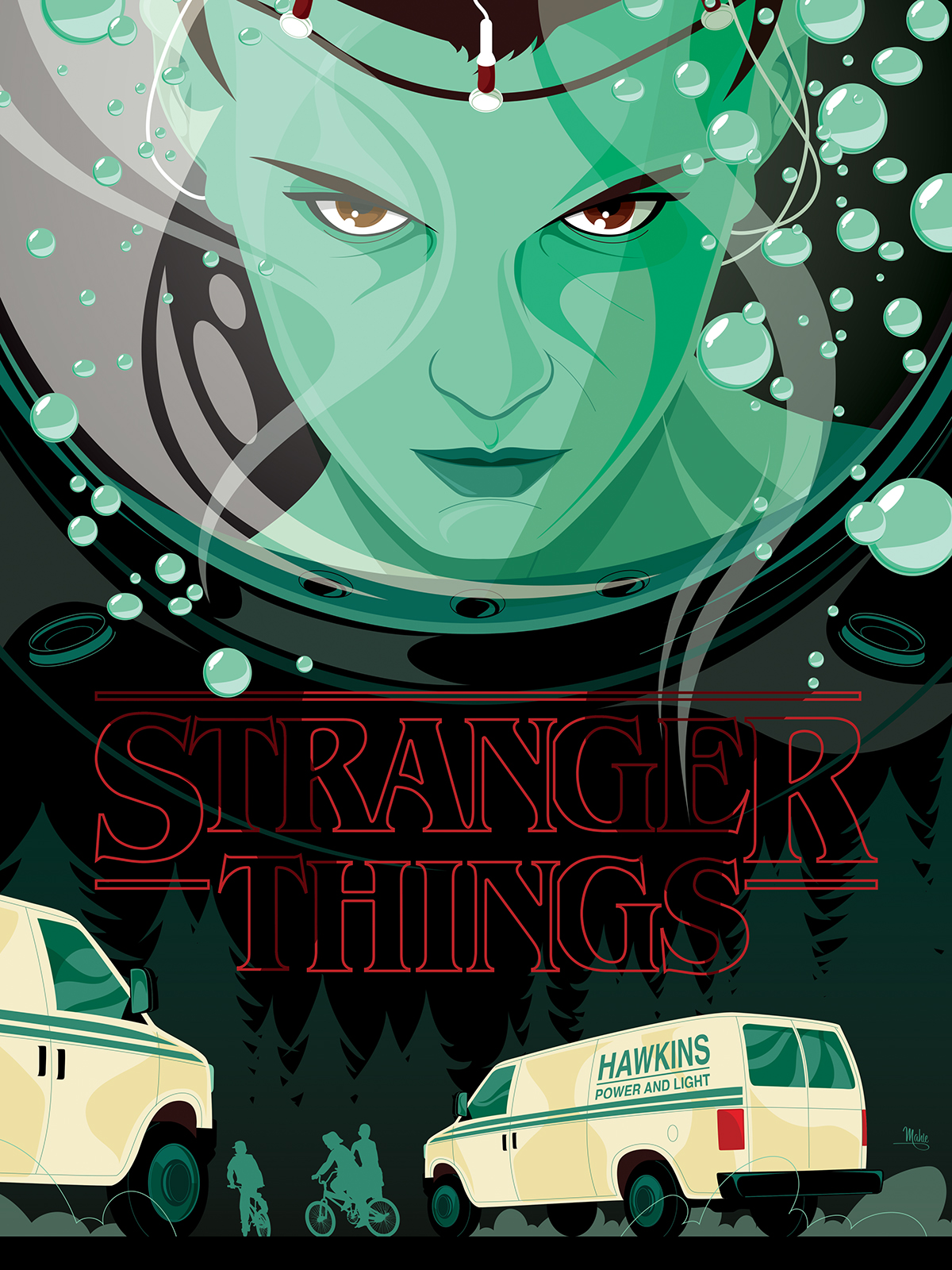 ILLUSTRATION  posters Stranger Things Netflix Poster Posse 80s Retro sci-fi horror science fiction