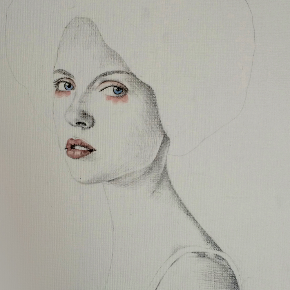 girl woman texture watercolor portrait