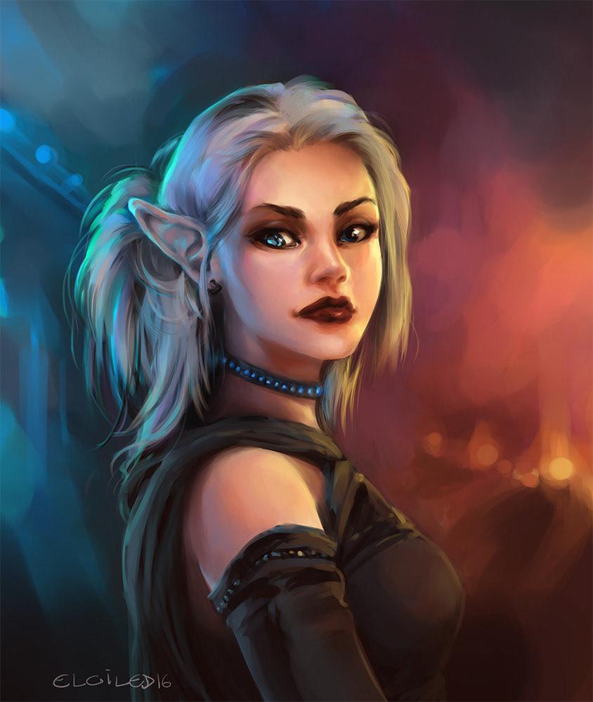 shadowrun Shadowrun Returns Game Art portrait Game Portrait outfit elf fantasy Cyberpunk painting