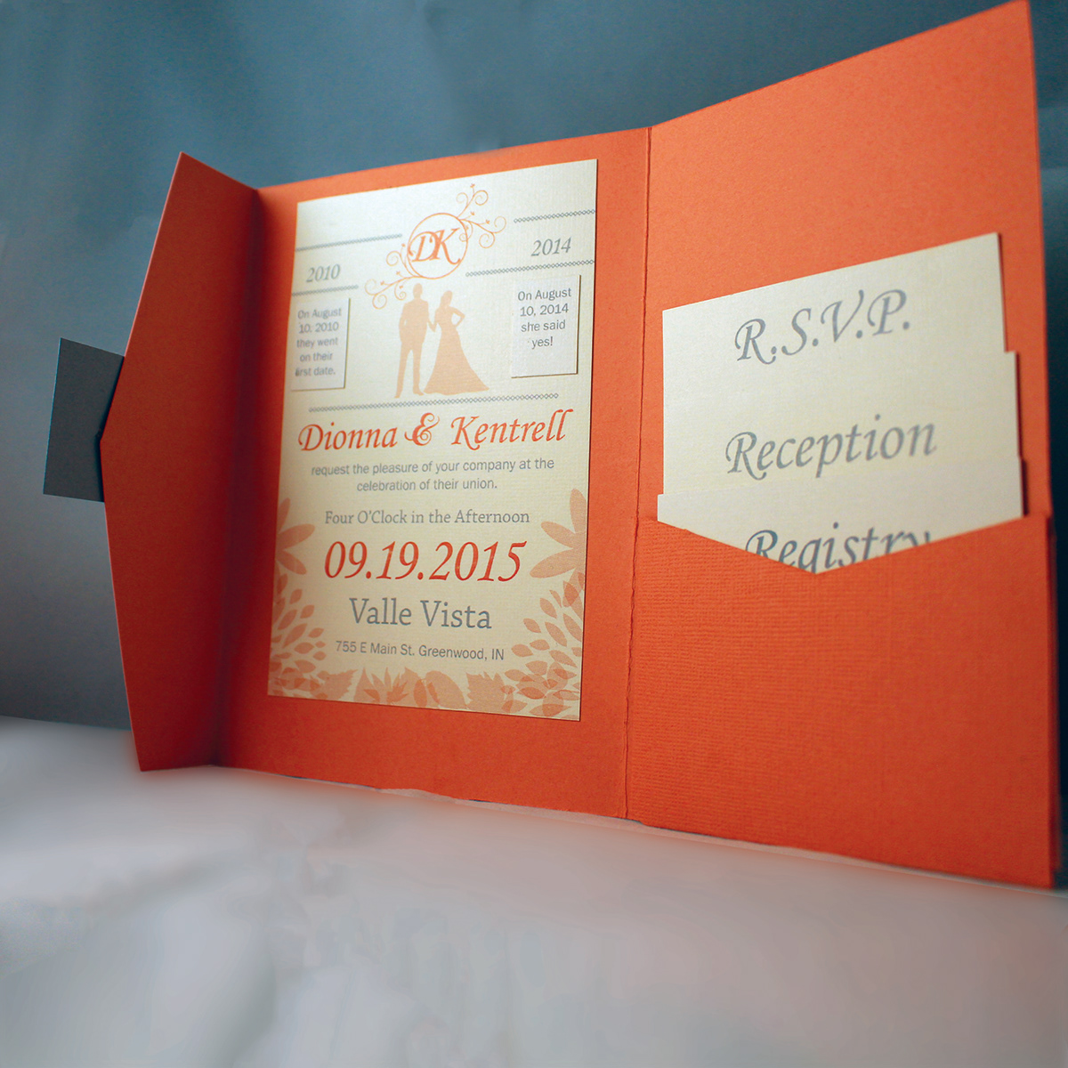 Coral Pocketfold Wedding Invitations on Behance