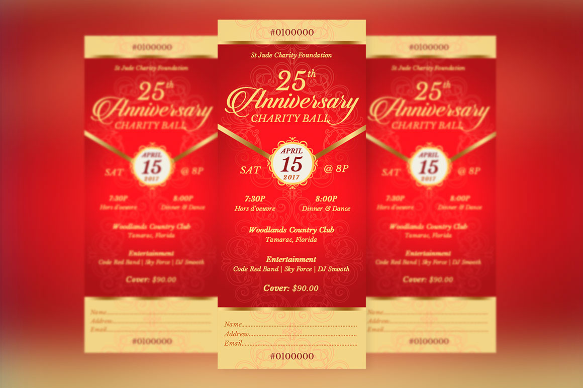 red gold anniversary banquet ticket publisher template on